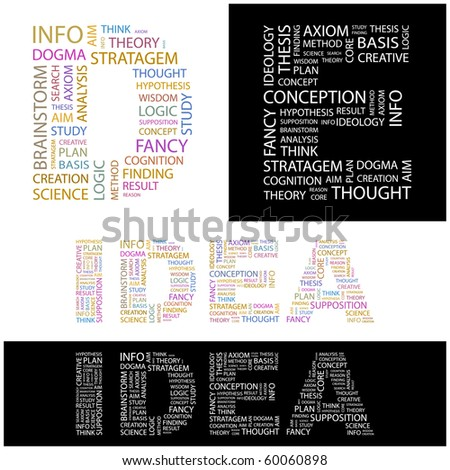 IDEA. Word collage. Illustration with different association terms. - stock vector