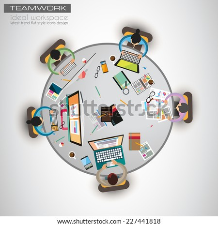 Ideal Workspace for teamwork and brainstorming with Flat style. A lot of design elements are included: computers, mobile devices, desk supplies, pencil,coffee mug, sheets,documents and so on - stock vector