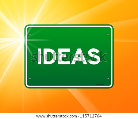 Ideas Green Sign - Abstract sign with Ideas copy on green background