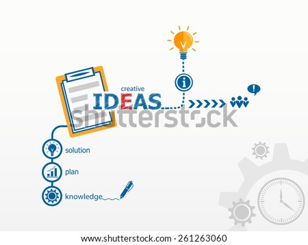 Ideas - innovation concept and notebook for efficiency, creativity, intelligence. Hand writing Best practice with blue marker - stock vector