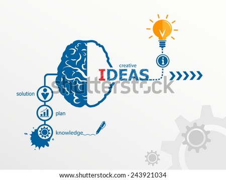 Ideas - innovation concept, Creative light bulb idea abstract infographic workflow layout, diagram, step up options - stock vector
