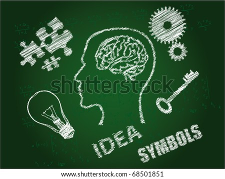 ideas symbols drawn by a chalk on a board - stock vector