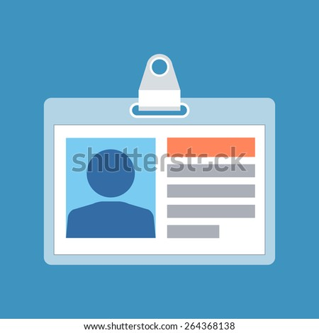 Identification card concept. Flat design. Isolated on color background - stock vector