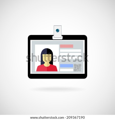 Identification card icon. Vector illustration. Lanyard visitor - stock vector