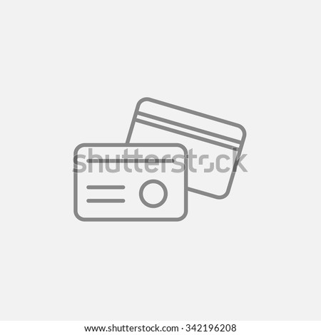 Identification card line icon for web, mobile and infographics. Vector dark grey icon isolated on light grey background. - stock vector