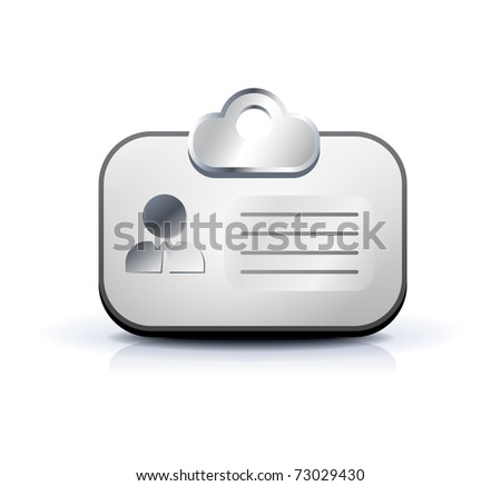 Identification card web button isolated on white