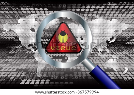 identifying a computer virus. Antivirus protection and computer security concept.  - stock vector