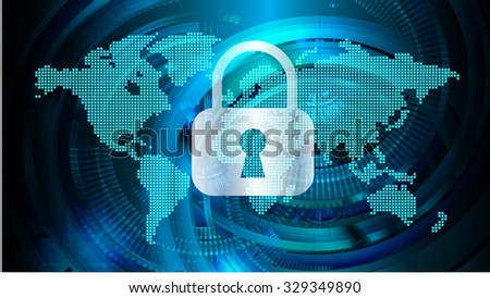 identifying a computer virus. Antivirus protection and computer security concept. PC. one zero. scan. technology digital website. vector. lock, key, Padlock, World Map, Global - stock vector