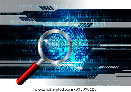 identifying a computer virus. Antivirus protection and computer security concept. PC. one zero. scan. technology digital website. vector. lock, key, Padlock.  fingerprint. scanning. Hand print. - stock vector