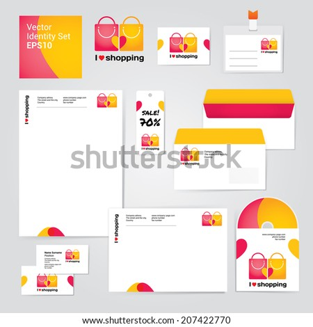 Identity corporate set design template about shopping and sales. Fresh vector modern illustration and design element for company - stock vector