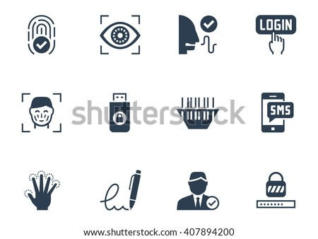 Identity verification security system icon set - stock vector