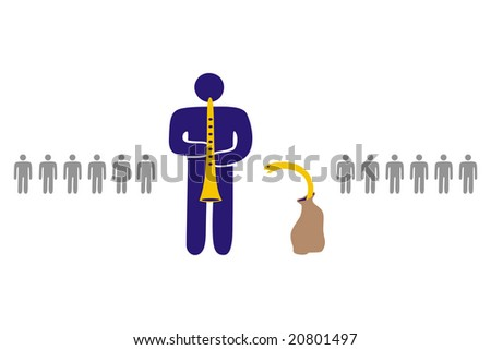 ideogram of character representing snake-charmer with excellent communication skills - stock vector