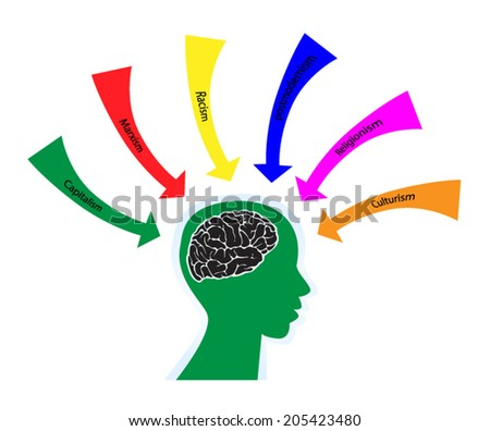 ideology - brain filled with lots of ideas - stock vector