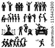 Idol Celebrity VIP VVIP Politician Singer Actor Movie Star Fans Stick Figure Pictogram Icon - stock photo