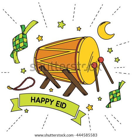 Stock Vector Idul Fitri Or Eid Mubarak Doodle In Color Ucapan