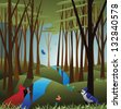 Idyllic forest with birds and butterflies.  EPS 8 vector, grouped for easy editing. No open shapes or paths. - stock vector