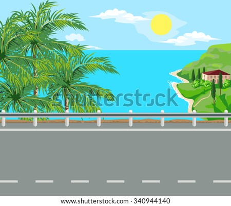 Idyllic seascape. Palm trees, road and house with red roof on the island. - stock vector