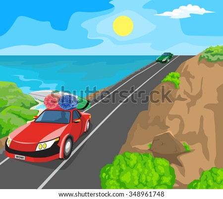 Idyllic seascape. The sun, blue sky and cars on the road. - stock vector