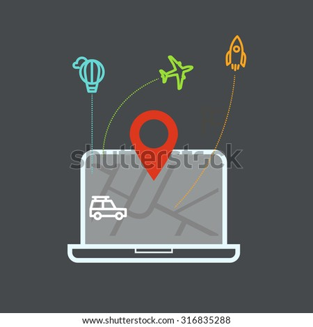 ifferent vehicles on the map. Infographic elements - stock vector