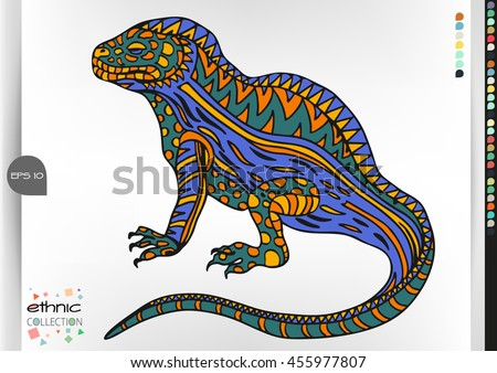 Iguana .Animal patterns with hand-drawn doodle waves and lines. Vector illustration in bright colors.