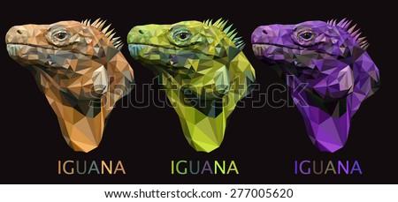 Iguana lizard poly art triangle unusual vector - stock vector