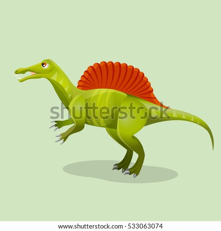 Iguanodon, iguana-tooth isolated. Ornithopod dinosaur existed in ancient times. Dinosaurs character monster, prehistoric animal. Sticker for children. Funny cartoon creature. Vector illustration