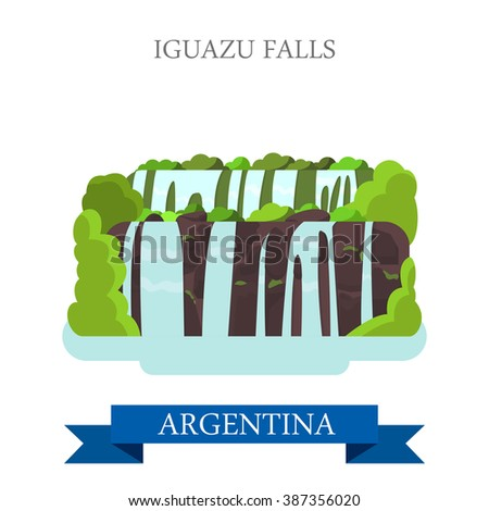 Iguazu Falls in Argentina. Flat cartoon style historic sight showplace attraction web site vector illustration. World countries cities vacation travel sightseeing South America collection. - stock vector
