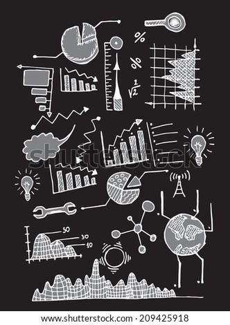 Iinfo graphic ink set black - stock vector