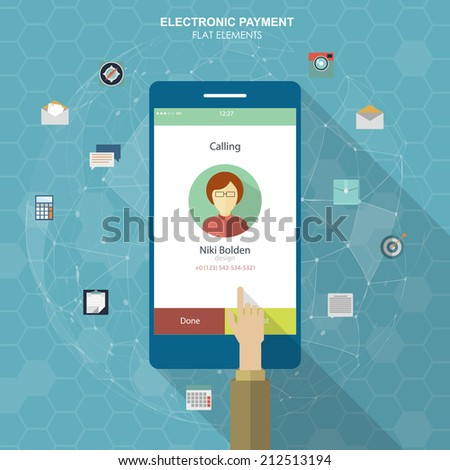 IInfographics mobile phone data. Flat social icons smartphone design infographics. Vector illustration - stock vector