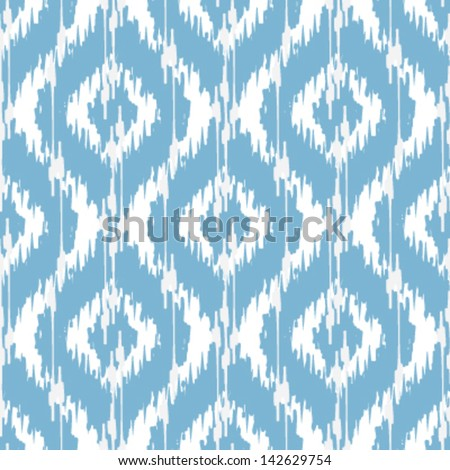 Ikat Damask Seamless Ogee Background Pattern - stock vector