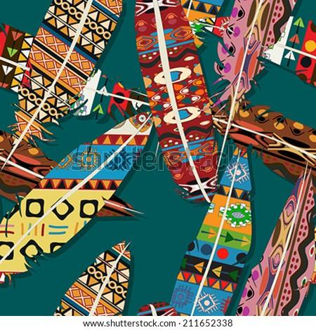 Ikat feather seamless  pattern design - stock vector