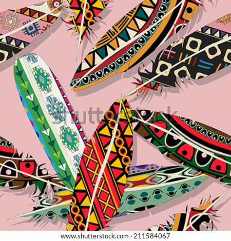 Ikat feathers seamless  pattern design