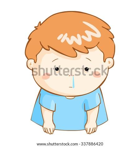 ill boy runny nose because flu disease vector - stock vector