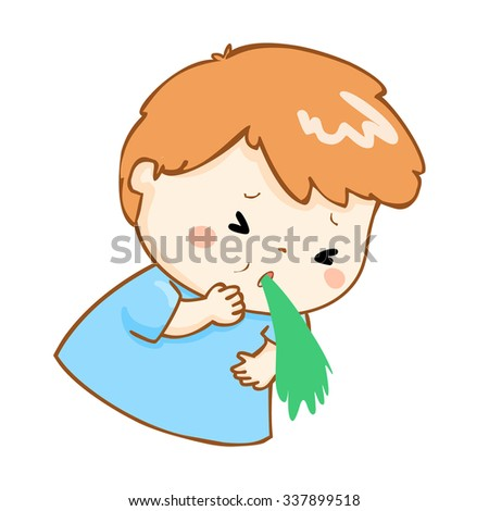 ill boy vomiting because food poisoning vector - stock vector