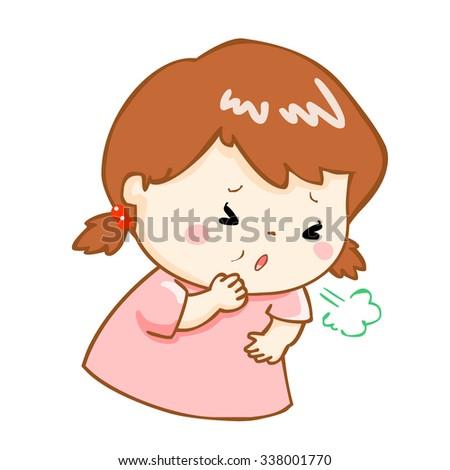 ill girl coughing hard cause flu disease vector - stock vector