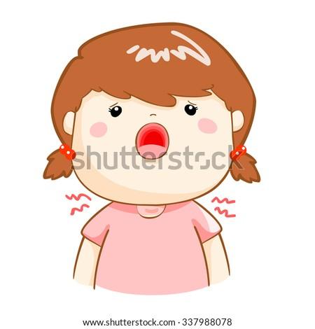 ill girl sore throat because flu disease vector - stock vector
