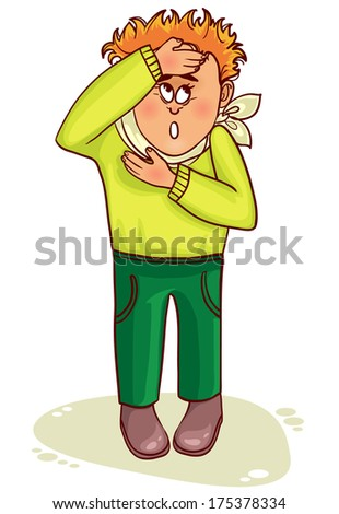 Ill little man complains about fever and headache - stock vector