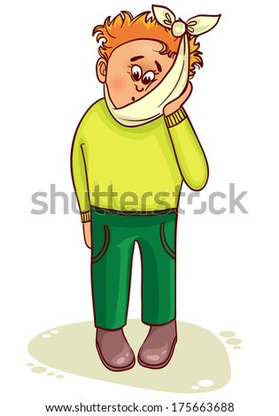 Ill little man complains about teeth pain - stock vector