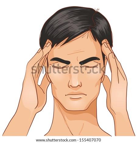 Ill man complaints about headache - stock vector