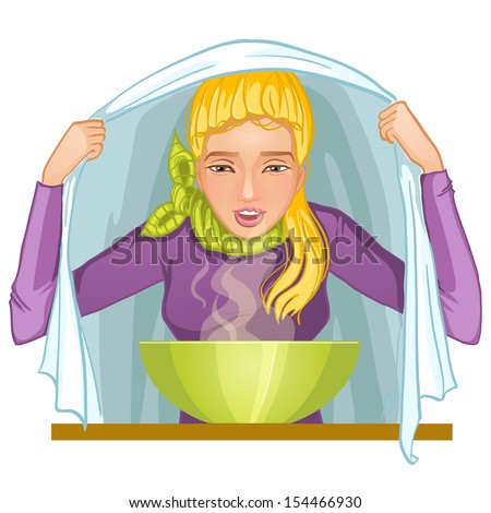Ill young woman makes inhalation, eps10 - stock vector