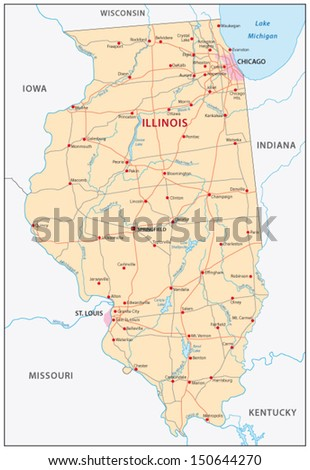 Illinois Map Stock Images RoyaltyFree Images Vectors - Map of illinois and missouri