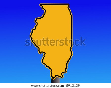 Illinois map warning sign - stock vector