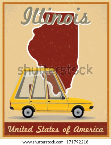 Illinois road trip vintage poster - stock vector