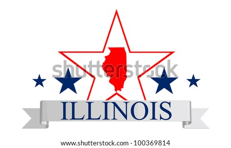 Illinois state map, frame and name. - stock vector