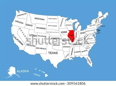 Illinois State Usa Vector Map Isolated Stock Vector - United states map illinois