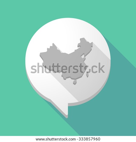 Illistration of a long shadow comic balloon with  a map of China - stock vector