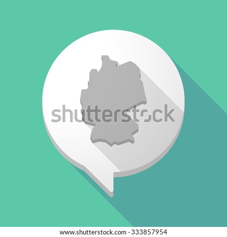 Illistration of a long shadow comic balloon with  a map of Germany - stock vector