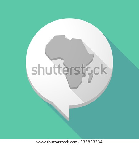 Illistration of a long shadow comic balloon with  a map of the african continent - stock vector