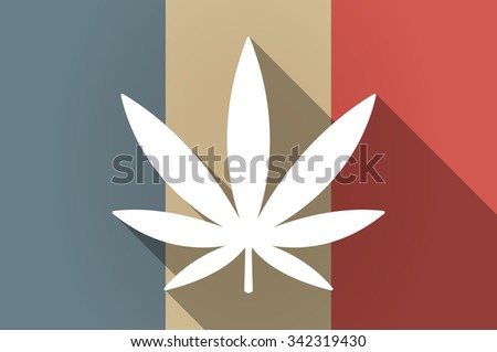 Illistration of a long shadow flag of France vector icon with a marijuana leaf - stock vector
