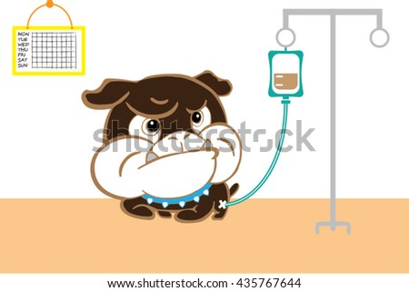 illness puppy  at dog hospital  and saline solution - stock vector